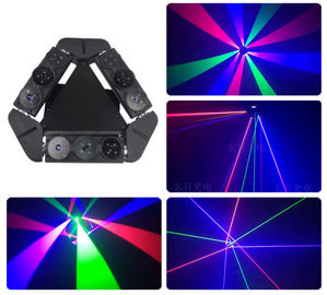 Mini Multicolor Laser Led Spider Beam Moving Head Light Air Cooling With Black Shell Color